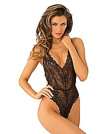 Black Strap Back Lace Teddy