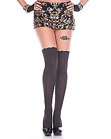 Garter Black Rose Tights