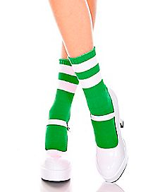Green Striped Ankle Socks
