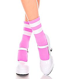 Pink Striped Ankle Socks