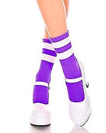 Purple Striped Ankle Socks