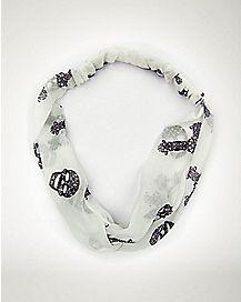 White and Black Skull Headwrap