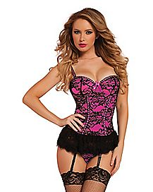 Victorian Lace Bustier and Thong Panties Set- Hot Pink