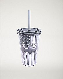 Black and White America Batman Cup With Straw 16 oz
