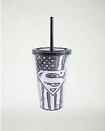 Black and White America Superman Cup With Straw 16 oz. - DC Comics