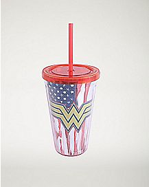 American Flag Wonder Woman Cup With Straw 16 oz. -  DC Comics