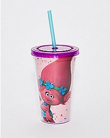 Glitter Poppy Trolls Cup With Straw - 16 oz.