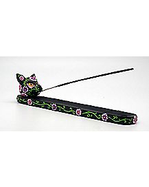 Black Cat Day of the Dead Incense Burner
