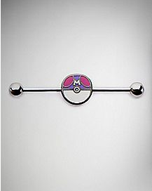 Poke Master Ball Industrial Barbell - 14 Gauge