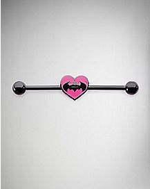 Heart Batman Industrial Barbell - 14 Gauge