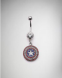 Captain America Dangle Belly Ring - 14 Gauge