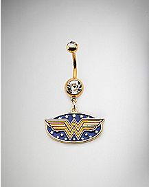Cz Wonder Woman Dangle Belly Ring - 14 Gauge