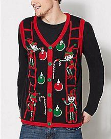 Adult Elf Ugly Christmas Sweater Vest