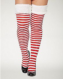 Christmas Red and White Faux Fur Trim Thigh High Stockings