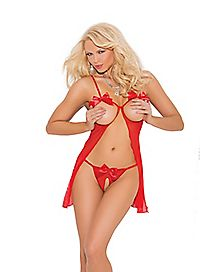 Red Bow Cupless Babydoll Set