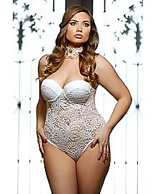 Plus Size Lace Bodysuit