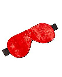 Faux Fur Lined Velvet Blindfold - Red