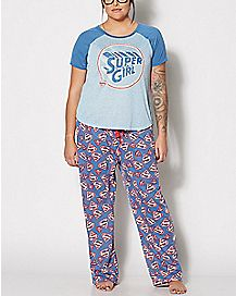 Supergirl Plus Size Pajamas Set