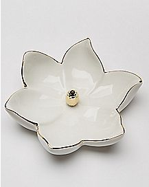 White Flower Ring Holder