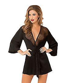 Black Lace Kimono Robe