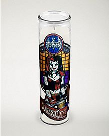 Harley Quinn Stained Glass Candle
