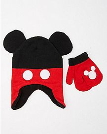 Baby Mickey Mouse Ears Hat and Mittens Set