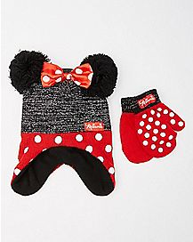 Baby Minnie Mouse Ears Hat and Mitten Set