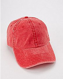 Red Pigment Dyed Dad Hat
