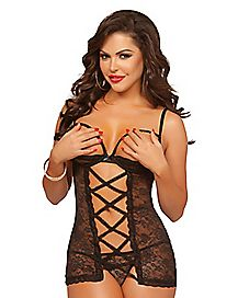 Cupless Lace Up Chemise and Thong Panties Set