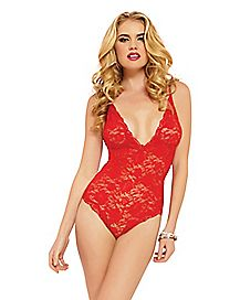 Lace Bodysuit-Red