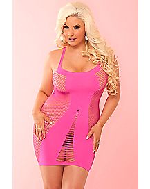 Plus Size Seamless Tank Dress- Pink
