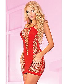 Seamless Halter Net Dress- Red