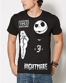 Collage Jack Skellington T Shirt - The Nightmare Before Christmas