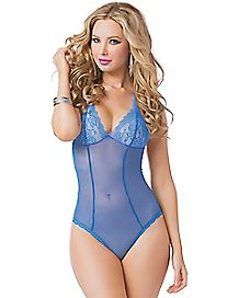 Sheer Blue Laced Up Bodysuit