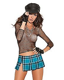 Side-Zip Pleated Plaid Mini Skirt