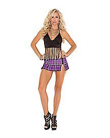 Purple Plaid Side Zip Mini Skirt
