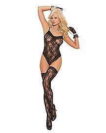 Lace Bodysuit Set- Black