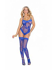 Floral Lace Bodysuit Set- Blue