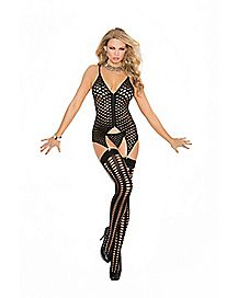 Crotchless Zip-Front Fishnet Chemise Set