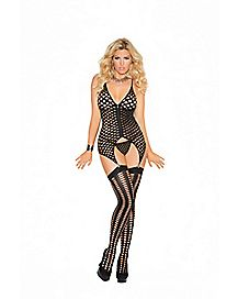 Plus Size Crotchless Zip-Front Fishnet Chemise Set