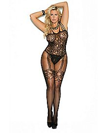 Plus Size Lace and Fishnet Crotchless Bodystocking