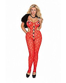 Plus Size Red Lace Bow Crotchless Body Stocking