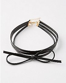 3 Row Black Bow Choker Necklace
