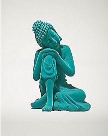 Blue Leaning Buddha Figurine