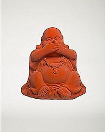 Orange Laughing Buddha Figurine