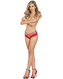 Double Strap Lace Criss Cross Panties - Red