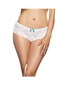 Plus Size Crotchless Lace Boyshort Panties