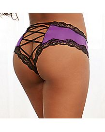 Criss Cross Back Panties - Purple
