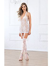 Lace Halter Dress with Thigh High Stockings