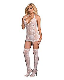Plus Size Floral Lace Dress with Thigh High Stockings